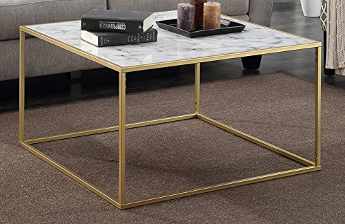 Convenience Concepts Gold Coast Faux Marble Coffee Table (Coffee Brass Square Table)