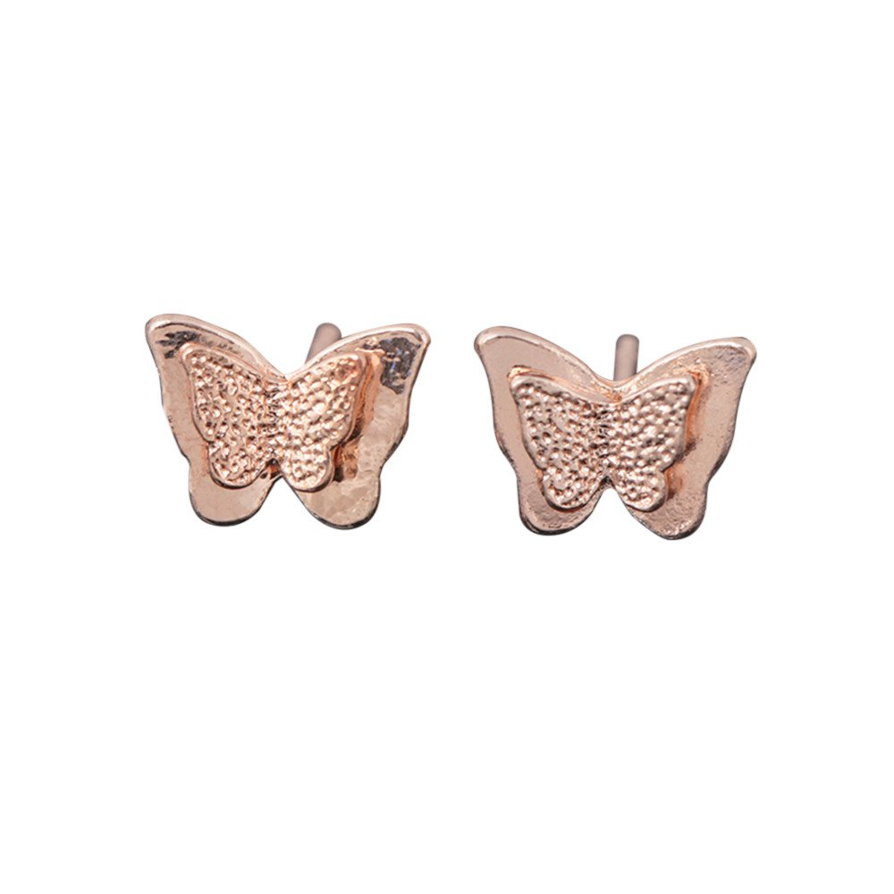 Toaimy Earings Three-Dimensional Frosted Double-Layer Butterfly Small Earrings