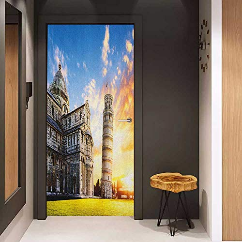 Onefzc Sticker for Door Decoration Italy Place of Miracoli Complex with The Leaning Tower of Pisa in Front Tourist Attraction Door Mural Free Sticker W35.4 x H78.7 Multicolor