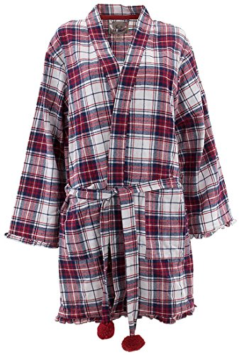 PJ Couture Women's Red Blue Plaid Cotton Bathrobe (Flannel Robe)