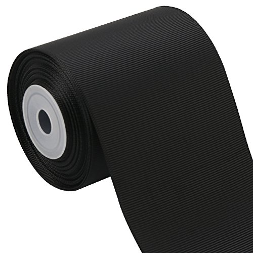 LaRibbons 3 Inch Wide Solid Color Grosgrain Ribbon - 10 Yard/Spool (Black)