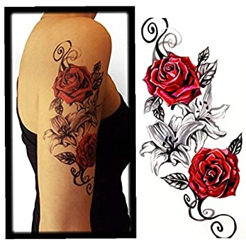 Amazon.com : Floral Waterproof Temporary Tattoo (4 Sheets) Flower ...