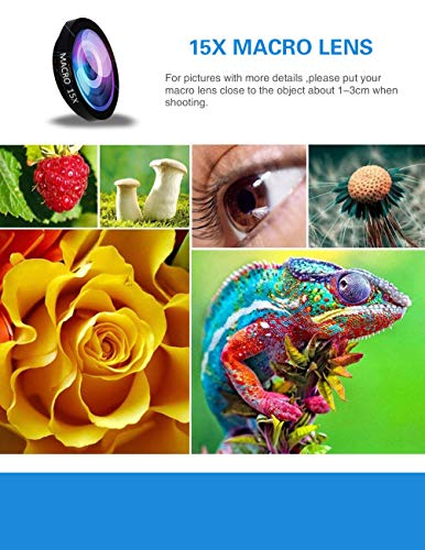 5-in-1 phone lens, 20x telephoto lens, 0.63x wide-angle lens, macro lens, fisheye lens, eye mask, Telescope Camera Mobile Zoom lens compatible iPhone Samsung Galaxy Huawei and most Android smartphones by Bostionye (Image #5)