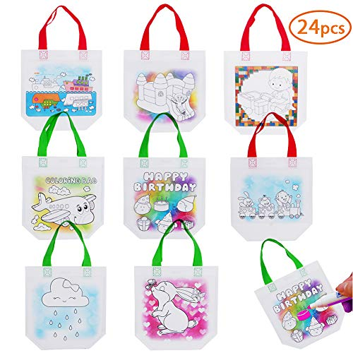 Diy Halloween Tote Bags (24 PCS DIY Colorful Graffiti Party Goodie Bags,Kids Tote Bag Candy Bags for Halloween,Christmas,Thanksgiving,Donate Bags,Festive Gifts, Birthday Gifts,Art Theme)