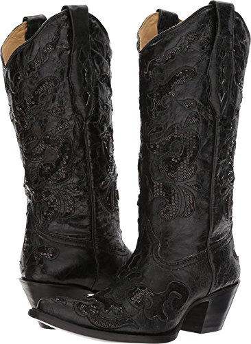Corral Boot Women's 13-Inch Goat Sequence Inlay Shaft Distressed Pointed Toe Black Western -