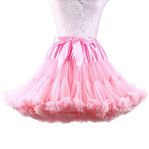 e652f06ccbd77 Women's Elastic Waist Chiffon Petticoat Puffy Tutu Tulle Skirt Princess  Ballet Dance Plinth (Light Pink)