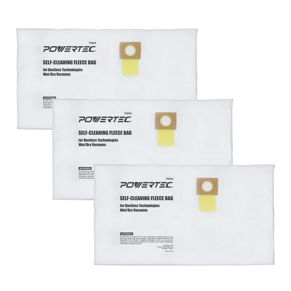 POWERTEC 75054 Self Cleaning Dustless Technologies Vacuum Bags | 5 Ply Fleece Cloth Dust Collector Filter Bag – 3 Pack