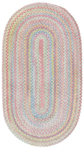 Kids Soft Chenille Braided Rug - Capel Rugs Baby's Breath 2 x 4 Oval Braided Area Rug (Light Green)