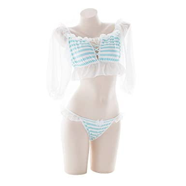 ce6f20a149adb YOMORIO Womens Anime Striped Underwear Lolita Cosplay Lingerie Cute Chiffon  Bra and Panty Set (Blue