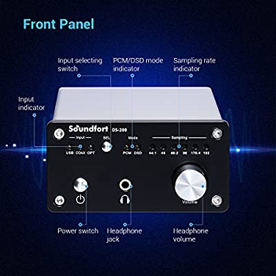 Soundfort Headphone Amplifier & Digital to Analog Audio Converter with Subwoofer Control - Audio & Video Component Signal Amplifier High Performance USB DAC - DS-200 PCM192kHz/32bit Support