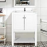 Harper&Bright Designs Bathroom Vanity with Ceramic Sink Top 24'' Single Sink (White without mirror)