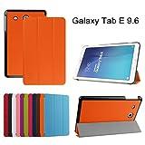 "Samsung Galaxy Tab E 9.6 Slim Shell Case,Mama Mouth Ultra Slim Lightweight 3-folding PU Leather Standing Cover For 9.6"" Samsung Galaxy Tab E 9.6 T560 T561 Android Tablet,Orange"
