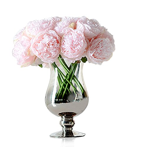 Newest trent 1Bouquet 5 Heads Artificial Peony Silk Flower Leaf Home Bridal Wedding Party Festival Bar Decor ()