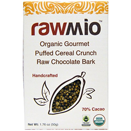 Rawmio Organic Gourmet Puffed Cereal Crunch Raw Chocolate Bark 1 76 oz 50 g