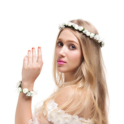 Flower Rose Girl Bud - Valdler Flower Crown with Wrist Band Bohemian Manmade Foam Paper Rosebud for Wedding Festivals Ibory