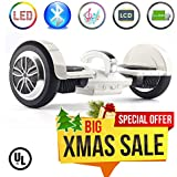 """Levit8ion Ultra 7.5"""" Bluetooth Hoverboard - Self-Balancing 2 Wheel Electric Scooter - UL Certified with Fireproof Detachable Samsung Battery, EZ Carry Handle with Night Headlight"""