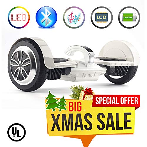 "Levit8ion Ultra 7.5"" Bluetooth Hoverboard - Self-Balancing 2 Wheel Electric Scooter - UL Certified with Fireproof Detachable 20 Cell Samsung Battery, EZ Carry Handle with Night Headlight"