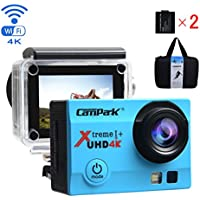 Campark ACT74 Action Camera 4K 30fps WiFi Ultra HD Waterproof Sports Action Cam,SONY Sensor,Free Mounting Accessories and 2 Rechargeable Battery for Bikes Motorbike Snorkeling(Silver) …