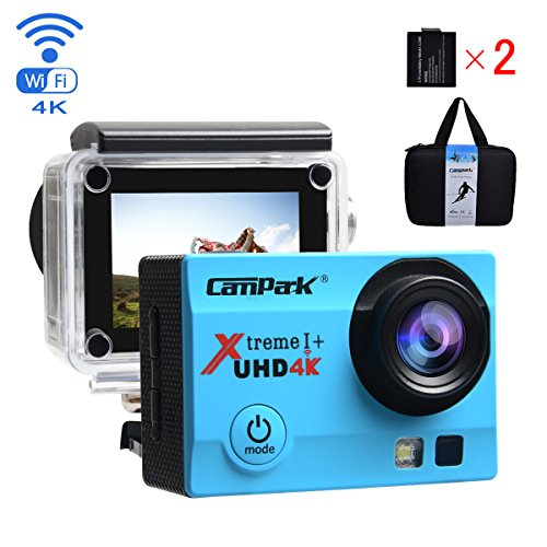 Campark ACT74 Action Camera 4K WiFi Waterproof Sports Camera 170° Ultra Wide-Angle Len with SONY Sensor,2 Pcs Rechargeable Batteries and Portable Package(Blue)