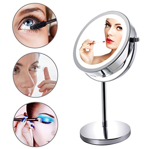 """-[ Mirror 10x Magnifying Illuminated Mirror Free Standing with Lights 7"""" Diameter Double Sided"""
