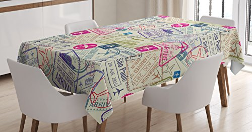 """Ambesonne Travel Tablecloth, Passport and Visa Stamps Illustration of Toronto Hong Kong Berlin Print, Rectangular Table Cover for Dining Room Kitchen Decor, 60"""" X 90"""", Eggshell Pink"""
