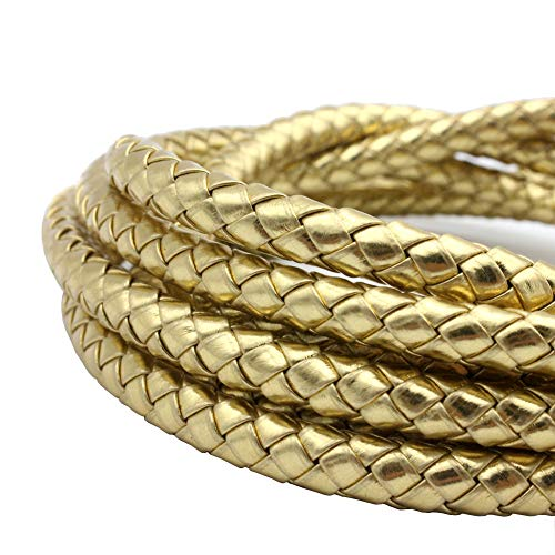 Gold Leather Braided - 8mm Round Gold PU Leather Cord Faux Leather Strap Woven Braided Bracelet Making Beading
