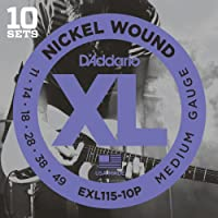 Cuerdas para guitarra eléctrica D'Addario EXL115-10P Nickel Wound, Medium /Blues-Jazz Rock, 11-49, 10 sets