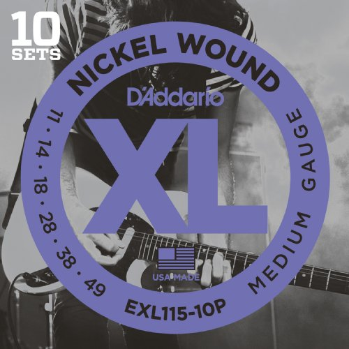 Nickel Wound Medium Electric Guitar (D'Addario EXL115-10P Nickel Wound Electric Guitar Strings, Medium/Blues-Jazz Rock, 11-49, 10 Sets)