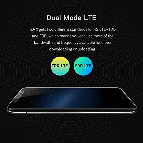 iLA X - Pantalla HD de 5.5 pulgadas (proporción 18: 9) Android 7.0 4G Smartphone , MT6737 Quad Core 1.3GHz, Bezel-Less 7.95 mm súper delgado, 3GB + 32GB, 5MP + 13MP, Huella digital - Negro Negro