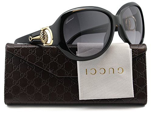 GUCCI GG3712/S Sunglasses Shiny Black w/Gray Gradient (0D28) 3712/S D28 EU 59mm - Glasses Authentic Gucci