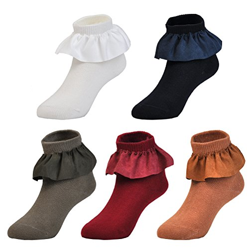 Rich Satin (Epeius Little Kids Girls 5 Pack Cotton Rich Satin Lace Socks for 5-8 Years,Off White/Wine/Camel/Beige/Coffee/Navy Blue,Shoe Size 11-13.5)