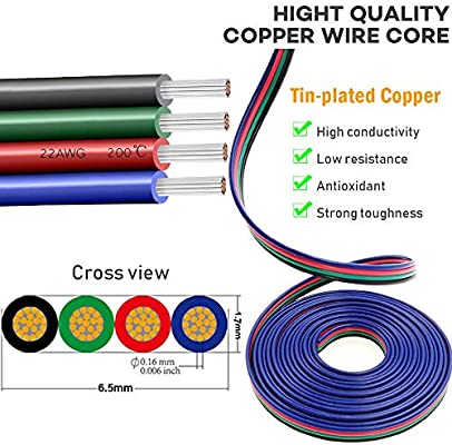 2-PIN 4-PIN Lamp Cord Wire 5050 3528 LED Strip Light Extension Cable 22AWG RGB