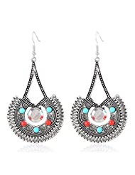 ATHINGS Bohemian Jewelry Ethnic Earrings sector shap Retro Gold Silver plated alloy Pattern Earings Female