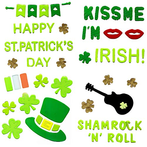 St Patricks Day Guitar - St. Patrick's Window Gel Charm Stickers - 4 Decor Sheets - Over 70 Decoration Clings - Lucky Gold Shamrocks, Leprechaun Hats, Kiss Me, Irish Flag