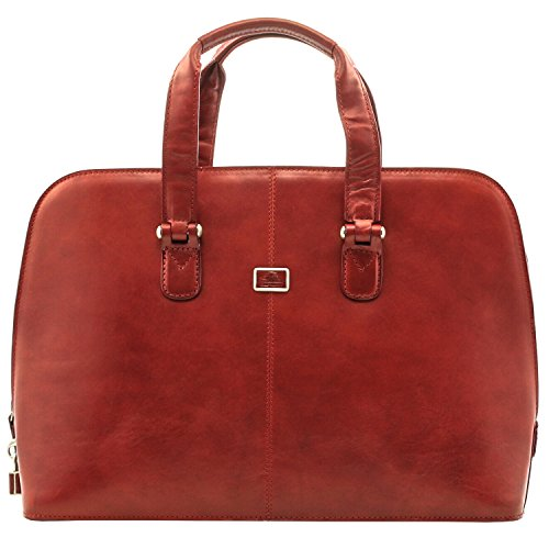 (Italian LeatherFashion Zip-Around Top Handle Laptop Business Shoulder Tote Brief Bag, Cherry Red)