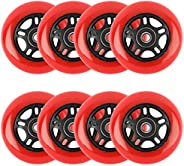 8 Packs of 80mm Inline Skate Wheels 85A, Outdoor Inline Roller Skates Replacement Wheels with Pre-Installed Be