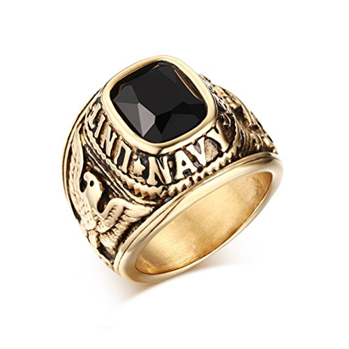 (MOSISON Men's Sterling Silver Onyx and Diamond-Accented Ring (11,)