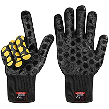 JH Heat Resistant BBQ Glove:EN407 Certified 932 °F, 2 Layers Silicone Coating, Black Shell with Black/Yellow Coating, BBQ & Oven Mitts For Cooking, Kitchen, Fireplace, Grilling, 1 Pair, Regular Cuff