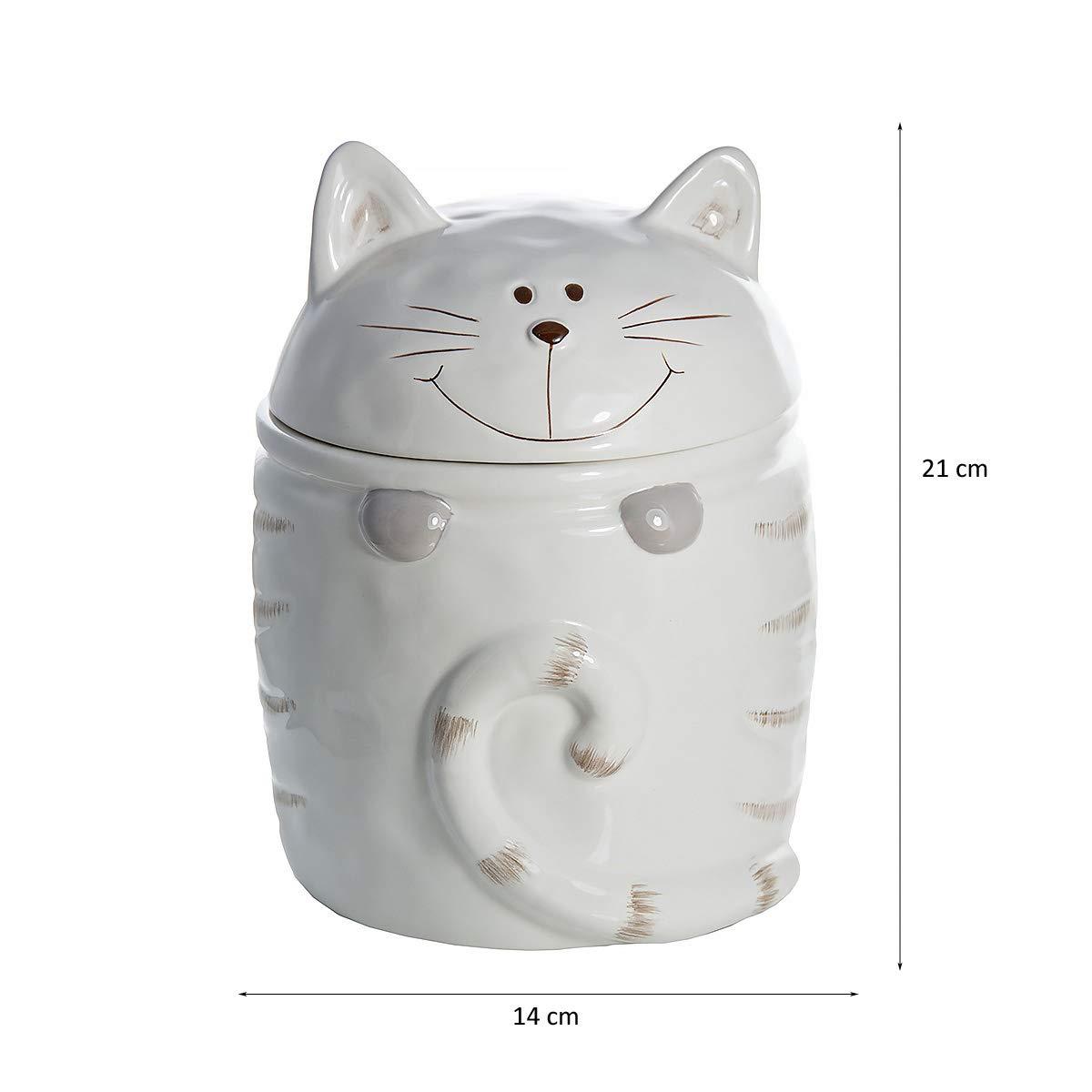 Regalo para el Amante de los Gatos Blanco con dise/ño de Gato SPOTTED DOG GIFT COMPANY Botes para Galletas Cookie Jar Tarro para Galletas de cer/ámica Grande Bote de Almacenamiento de Cocina