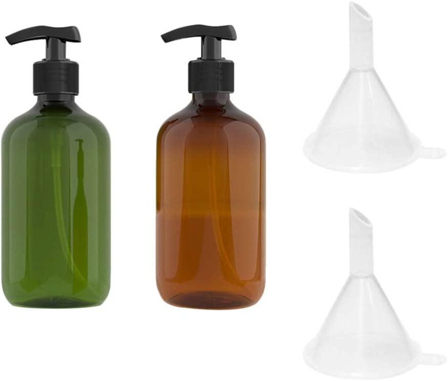 TOPBATHY 2 botellas de champú vacías de 500 ml opacas versátiles con dispensador de jabón de manos con 2 embudos (verde + marrón)