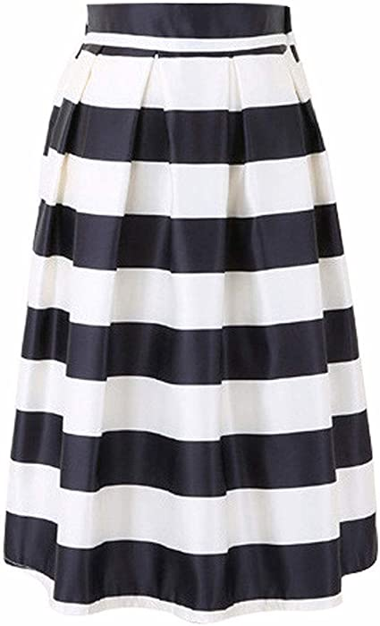 SXX Algodón de alta elástico Negro y blanco a rayas de la falda de las mujeres, falda sobre la rodilla elástico de la cintura, una línea de Midi Faldas,Negro,M: Amazon.es: Ropa y