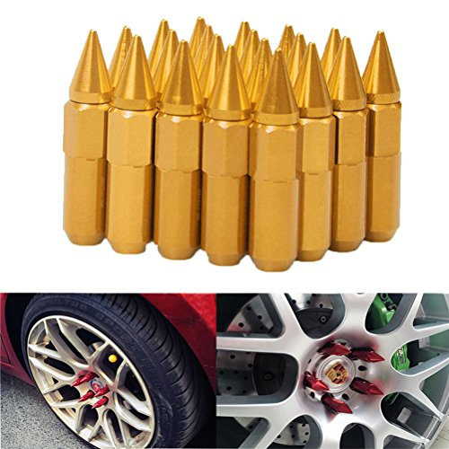 EDJIAN 20pcs Aluminum Wheel Hug Nut 60mm 12x1.5 Spike Mounted Extend Nut Refit Hex Lug Nut(gold) ()