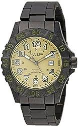 Akribos XXIV Men's AK794BK Quartz Movement Watch with Olive Green Dial and Black Stainless Steel Bracelet