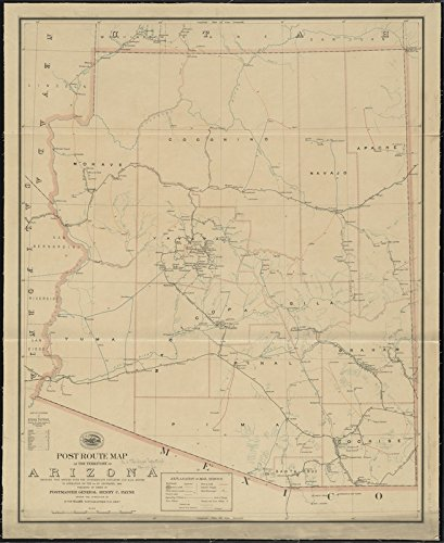 Historic Map | 1903 Post route map of the territory of Arizona showing post offices with the intermediate distances and mail routes in operation on the 1st of December, 1903 | Vintage Reproduction