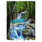 Magicook 3D Waterfall Nature Scenery Bath Curtain Water Resistant Shielding Cloth for Bathroom