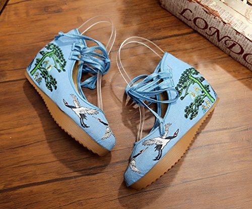 Toile Chaussures Fanwer Casual Femmes Ni Grue Hauteur Pour La Bretelles Et De Plateforme Broderie Compenses Talon Augmenter Bleu As 557TqrPn