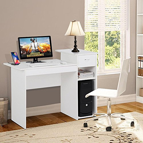Topeakmart Small White Computer Desk with Drawers and Printer Shelves, Wood Study Writing Table Compact PC Laptop Workstation for Small Space Home Office ()
