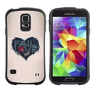 Suave TPU Caso Carcasa de Caucho Funda para Samsung Galaxy S5 SM-G900 / Quote Love Heartbreak Beige / STRONG