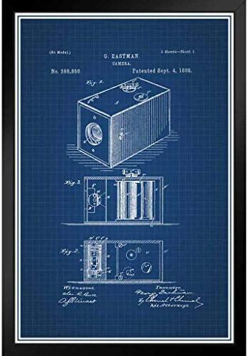 ポスター - 最初のフィルムカメラジョージイーストマン1888公式特許の青写真アートパネル 印象派 壁掛け 絵画 - 28*23