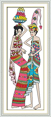 Happy Forever Cross Stitch Figure, Indonesian dancing 3